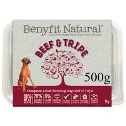 Beef & Tripe Complete Adult Raw Working Dog Food 500g