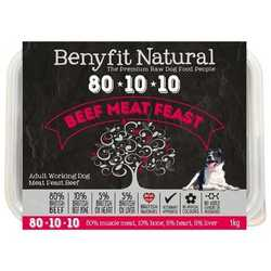 Benyfit Natural Beef Meat Feast - Raw Food - For Working Dogs - 500g