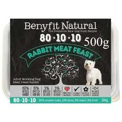 Benyfit Natural Rabbit Meat Feast - Raw Food - For Working Dogs - 500g